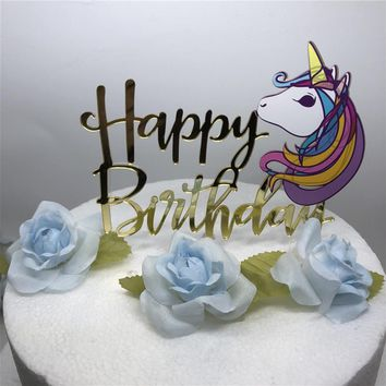 Unicorn Cake Topper Acrylic Happy Birthday Cake Topper Baby Shower Kids Birthday Cake Decoration Unicorn Party Supplies