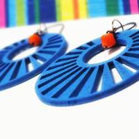 Large Antique Copper Bright Blue Wood & Orange Bead Earrings