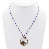 William Morris Hyacinth Amethyst, Bronze And Sterling Silver Necklace