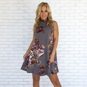 Cozy Floral Knit Dress in Grey