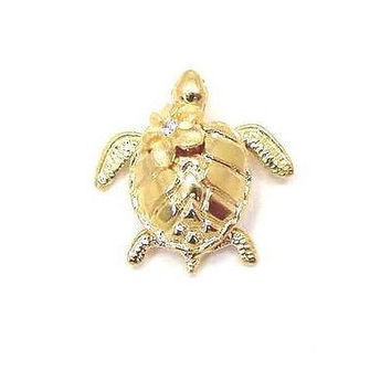 14K SOLID YELLOW GOLD 3D HAWAIIAN SEA TURTLE HONU CARRY PLUMERIA FLOWER PENDANT