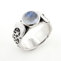 Sterling Silver Lunar Moon Phases and Rainbow Moonstone Ring Size 7(Sizes 4,5,6,7,8,9,10,11,12)