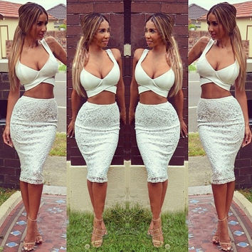 Women's Bra Crop Tops and Skirt Clothing Set Sexy  Two-piece Lace Bodycon Mini Dress W_C = 1956657412
