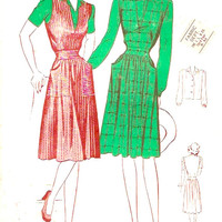 40s jumper dress Retro Glamour Frock buttoned blouse Vintage sewing pattern Junior miss Butterick 2466 Bust 33 UNCUT
