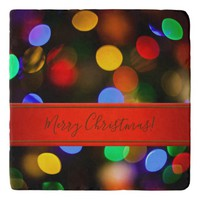 Multicolored Christmas lights. Add text or name. Trivet