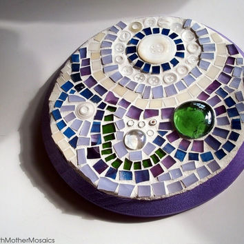 Stained Glass Mosaic: Wall Art, Moons, Metallic, Purple, Blue, Green, White