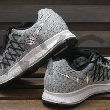 Blinged Nike Air Zoom Pegasus 32 Grey Customized With Swarovski Crystal Rhinestones Bling