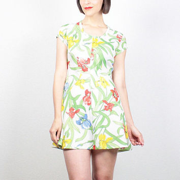 Vintage 1970s Dress Mini Dress White Iris Floral Print Lily Green Yellow Red Blue 70s Dress Hippie Dress Mod Scooter Dress S Small M Medium