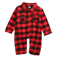 Cotton Newborn Infant Baby Boy Long Sleeve Plaid Romper Jumpsuit Clothes Outfits