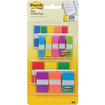 "Post-it® Flags, 1/2"" Wide and 1"" Wide, Assorted Colors, 320 Flags/Pack (683-XL1) 