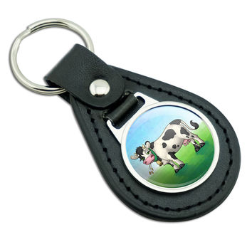 Cow in a Field Black Leather Keychain
