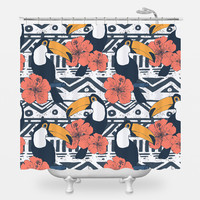 Tribal Pattern with Toucans Shower Curtain