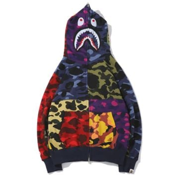 Bape Aape New fashion shark tiger colorful contrast color camouflage hooded long sleeve sweater coat