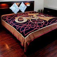 Cotton Celtic Dragon Tapestry Tablecloth Thin Bedspread Twin Full Red