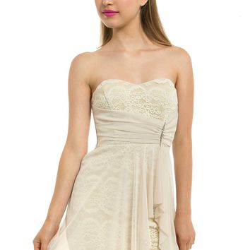 Teeze Me | Strapless Lace Dress With Brooch | Cream
