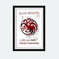 House Targaryen watercolor poster Game of Thrones art print House Targaryen sigil print Home decoration Kids room decor Nursery room W616