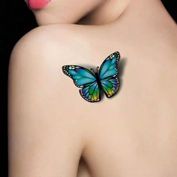 1Pcs Fashion Colorful Butterflies Body Art Fake Decal Temporary Tattoo Stickers Disposable Waterproof Transfer Tattoo Sticker