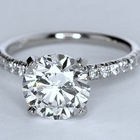 3.26ct H-VS2 Platinum Round Diamond Engagement Ring  JEWELFORME BLUE GIA cert