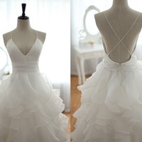 Open Back Cross Straps Taffeta Organza Ruffles by wonderxue