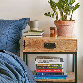 Casper Industrial Wooden Nightstand - Urban Outfitters