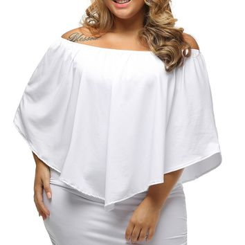 Multi-way Layered Ruffle White Mini Plus Size Dress