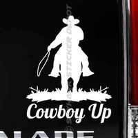 Cowboy Up Bumper Sticker Vinyl Decal Wild West Western Truck Country fit Jeep GM