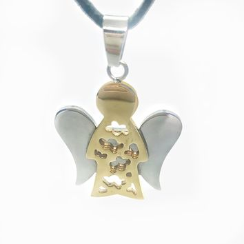 ON SALE - Two Tone Guardian Angel Stainless Steel Pendant Necklace