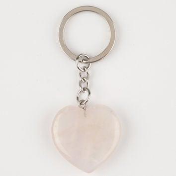 MINERAL HEART Rose Quartz Keychain | Keychains & Bag Charms