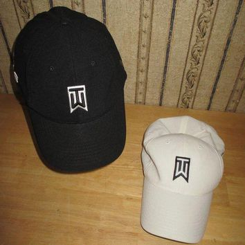 Lot Of 2 Men's Nike One / Tiger Woods Black & White Ball Caps Awesome Lot!!