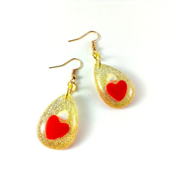 Drop earrings Golden hearts Red heart earrings Love earrings Valentine gift idea White pearl earrings Glitter jewelry Charm jewelry resin