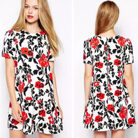 Floral Print Short Sleeve Drop Waist Mini Dress