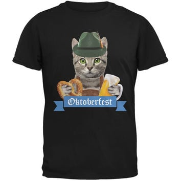 Oktoberfest Funny Cat Black Adult T-Shirt