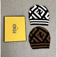 FENDI Autumn Winter Popular Women Men Warm FF Letter Jacquard Beanie Hat Cap