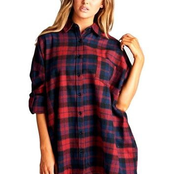 Oversized Plaid Flannel Top, Red