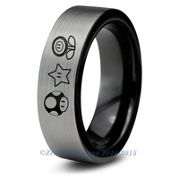 Super Mario Power Ups Inspired Tungsten Wedding Band Ring Mens Womens
