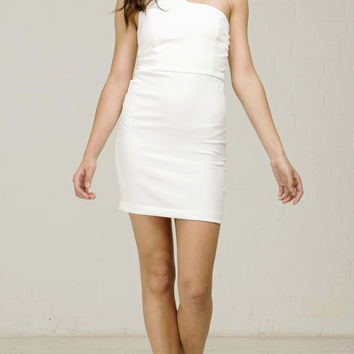 Side Cutout Party Dress - White
