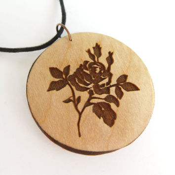 Wooden rose pendant free shipping trend gift idea gift for her