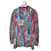 Vintage Plus Size Button Up Blouse Abstract Geometric Print Colorful XXL 2X 2XL