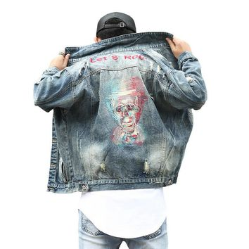 Trendy Streetwear Style Frayed Hole Skulls Denim jackets Men Vintage Lets Rock Embroidery Cowboy Coat Loose Outerwear AT_94_13