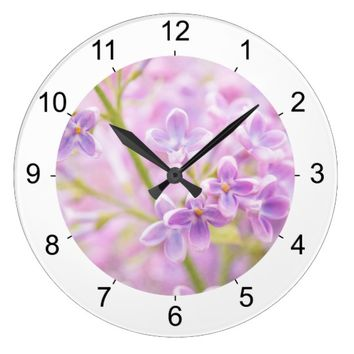 Lilac Flowers Mist Large Clock