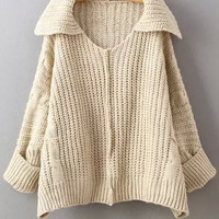 Apricot Lapel Long Sleeve Knitted Sweater