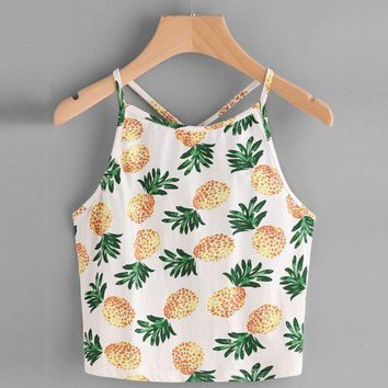 DCCKUNT Women Sexy Halter Backless Camisoles Pineapple Print Summer Short Top Camis Cropped Feminino Sleeveless Tanks