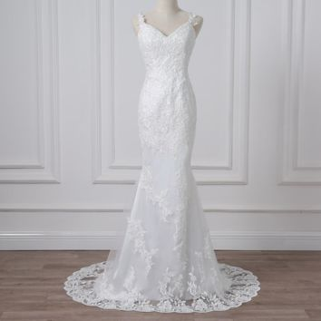 Sexy Mermaid Wedding Dresses Spaghetti Straps Lace Applique Tulle Wedding Gowns Backless