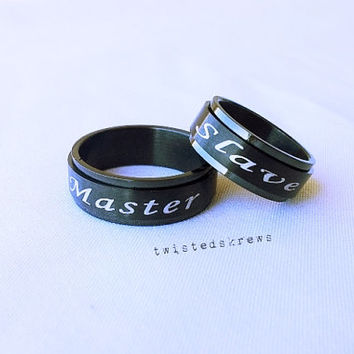 Custom BDSM black stainless steel SPINNER ring bdsm jewelry gift for master daddy dom sir Christmas