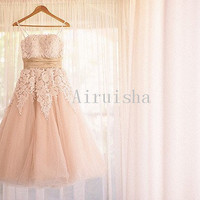 Lovely strapless A-line sash sleeveless lace tulle tea length wedding dress(with petticoat inside the skirt)