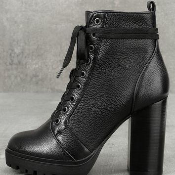 Steve Madden Laurie Black Leather Lace-Up Platform Booties