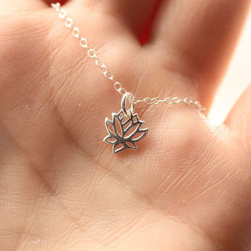 Tiny Lotus Necklace, Lotus Flower Charm, Sterling Silver, Tiny Charm Necklace, Dainty Necklace, Yoga Jewelry, Charm Necklace