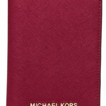 NEW MICHAEL KORS TRAVEL PASSPORT WOMEN'S SAFFIANO LEATHER CHERRY WALLET.