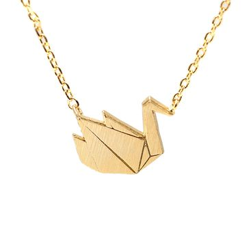 Handcrafted Brushed Metal Origami Crane Necklace