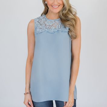 Breathtaking in Lace Tank Top- Baby Blue